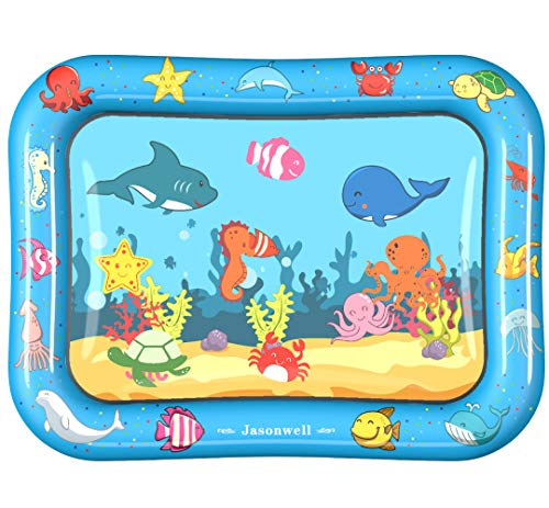 Jasonwell Tummy Time Mat Baby Toys 3 6 9 12 Months Old Water Mat Infant Toys Inflatable Water Play Mat for Toddlers Fun Play Activity Center Brain Development Stimulation Growth