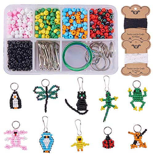 SUNNYCLUE 1 Box 1000+pcs DIY 10PCS Bead Pets Kit Kids Toy Arts and Crafts for Kids Include Keychain, Keyring & Lanyard Clips