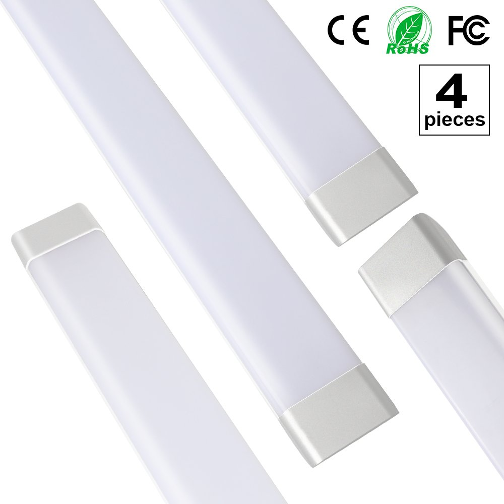 4-Pack 4ft/1.2m T11 Dustproof LED Integrated Tube Lights Fixture with Brackets Milky Cover 50W 85-265V 180 Degrees Beam Angle 4500LM 6500K Daylight JS120