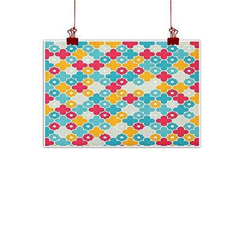"""Canvas Prints Boho Quatrefoil,Kids Colorful Petal Clover Leaves Pattern Bohemian Casual Kids Theme, Red Turquoise Yellow 48""""x32"""" for Bedroom Office Homes Decorations"""