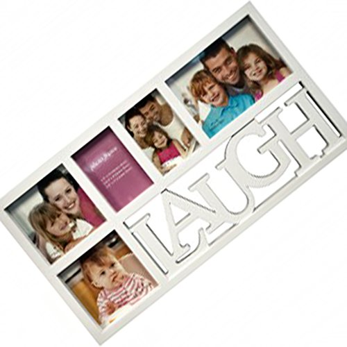 JCCentral Unique White Laugh 5in1 DIY Personalized Family Photo Collage Picture Frame Set Funny Creative Cool Decor Essentials Under 40 Dollars for New Born Baby Mom Women Ladies Teen Girl