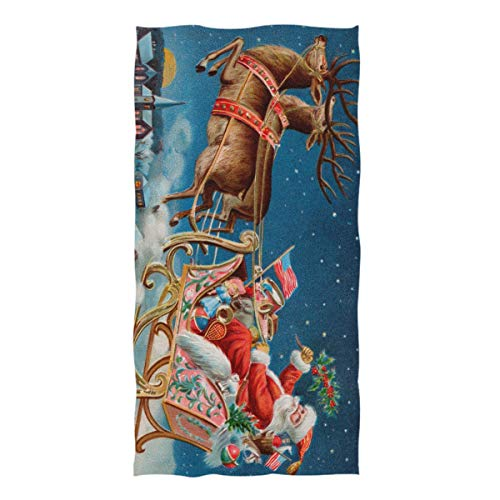 ZZKKO Christmas Holiday Santa Claus Reindeer Deer Retro Towel Washcloth Baby Toddler Kids Boys Girls Women Man for Home Kitchen Bathroom Spa Gym Swim Hotel Use (Washcloth Holiday)