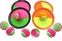 ? Paddle Catch Ball and Toss Game Super Set - 4 Paddles + 8 Balls (Ball Sticks to Paddle)