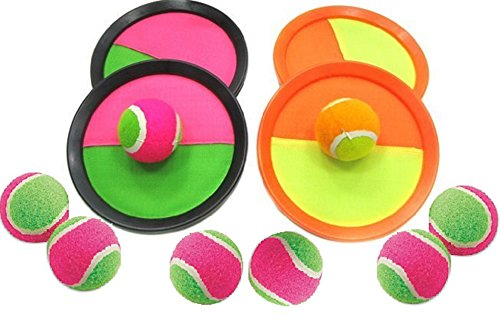 Catch Ball Set - ⚾ Paddle Catch Ball and Toss Game Super Set - 4 Paddles + 8 Balls (Ball Sticks to Paddle)
