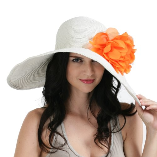 Large White Wide Brim Floppy Beach Straw Sun Hat for Women with Removable Flower Appliques