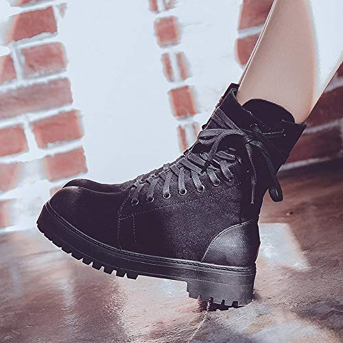 Slip Boots Black Platform Non Martin Zipper Retro Womens Holywin Lace Toe Round UP Shoes wT0Fq7O