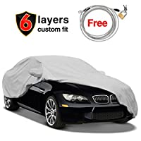 6 Layers Car Cover for BMW M3 2007-2018 320 328 330 335 340,Waterproof Windproof UV Protection with Free Windproof Ribbon & Anti-theft Lock,KAKIT Custom Car Cover Fit for BMW M3 320i 328i 328d 330i 33