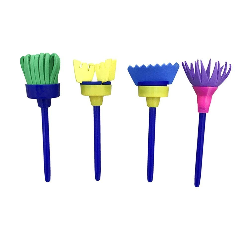 Gift Prod 20 Pcs Round Stencil Sponge Wooden Handle Foam Brush Furniture Art Crafts Painting Tool Supplies Painting Stippler Set DIY Painting Tools in 5 Sizes for Kids (20 Pcs)