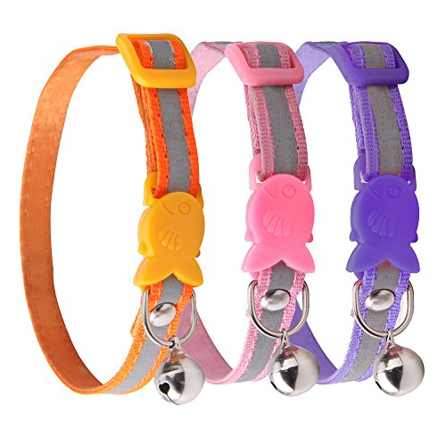 ReflectiveBreakawayAdjustable CatCollarNecklace Pink/Purple/Orange CollarwithBell forPuppyKitten3pcs aPack,Size 7.5