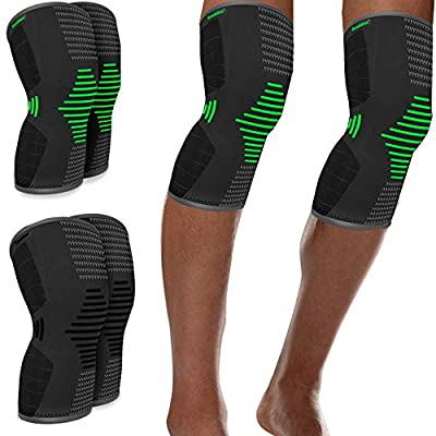 Scuddles 4 Pack Compression Knee Sleeve - Best Knee Brace for Meniscus Tear, Arthritis, Quick Recovery etc. – Knee Support for Running, Crossfit, Basketball and Other Sports