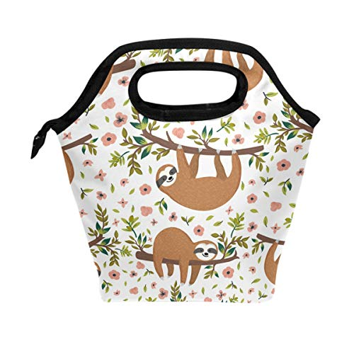 - ALAZA Hand Drawn Baby Sloth With Flowers Branch Animal Waterproof Reusable Durable Insulated Lunch Boxes for Women Lunch Bag Box Tote for School Work Office Picnic Travel Mom Bag