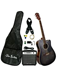 Glen Burton GA204BCO-BK Acoustic Electric Cutaway Guitar, Bla...