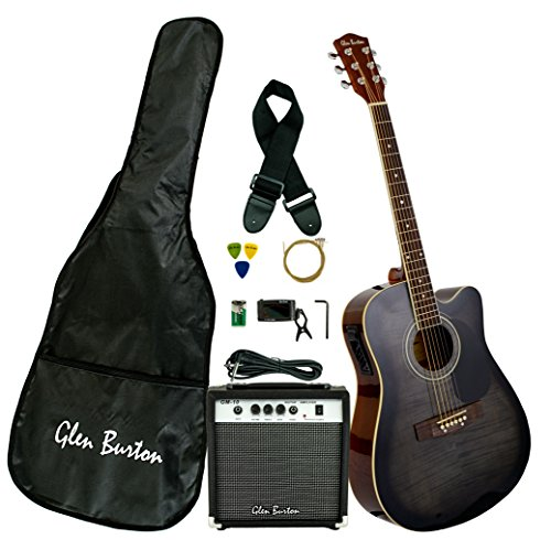 Electric Acoustic Guitar (Glen Burton GA204BCO-BK Acoustic Electric Cutaway Guitar, Black)