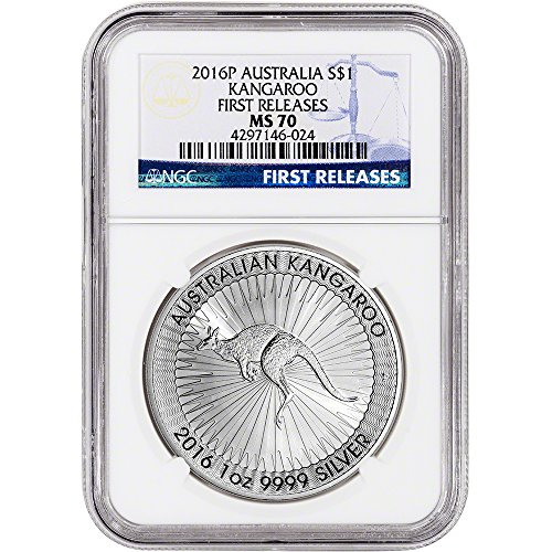 2016 AU Australia Silver Kangaroo First Releases $1 MS70 NGC