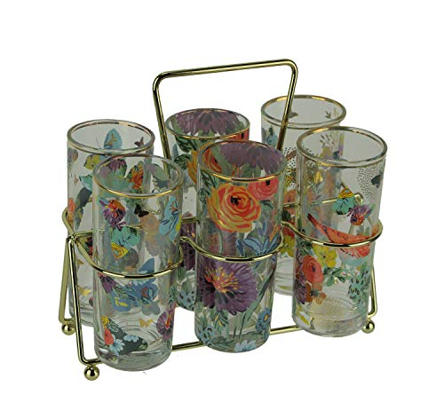 Brilliant Bouquet Floral Juice Glasses with Wire Display Caddy Set of 6