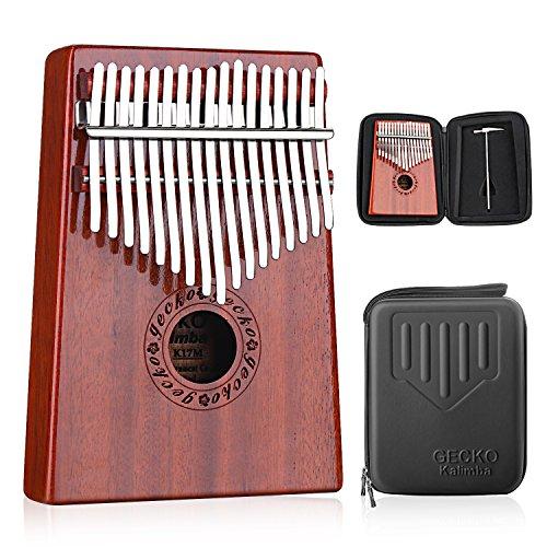 GECKO Kalimba 17 Keys Thumb Piano builts-in EVA high-performance protective box, tuning hammer and study instruction.