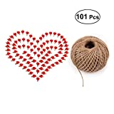 101pcs Picture Clips Set with Jute Twine Wood Craft Clips Photo Pins Clothepins with Red Heart Pattern (100pcs Clips and 1pc 100Yard String)