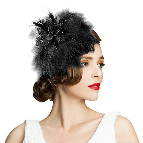 Edith qi Women's Hats Celebration/Cocktail/Party/Wedding Feather Fascinators Hair (Party Celebration Hat)