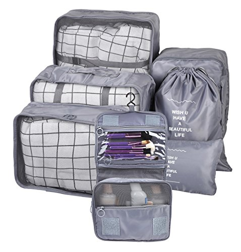 BAGOOE 7 Set Assorted Packing Organizers, Travel Luggage Mesh Packing Cubes & Underwears Packing Cube & Cosmetics Case & Shoes Makeup Bags, Grey ()