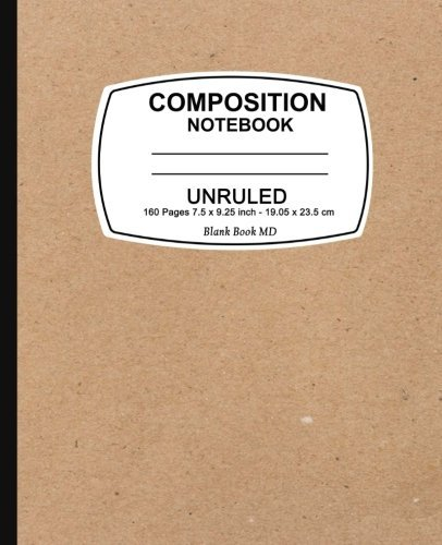 Unruled composition notebook: Kraft Design, Unruled Composition Notebook, 7.5 x 9.25, 160 Pages For for School / Teacher / Office / Student Composition Book
