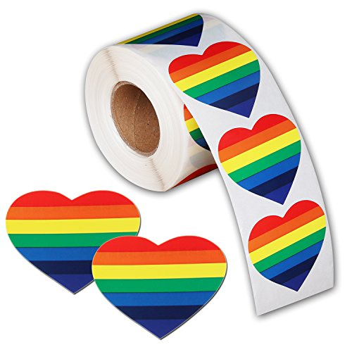 500 Love Rainbow Ribbon Stickers, Gay Pride 7 Colors Stripes Heart Shaped Roll Tape]()