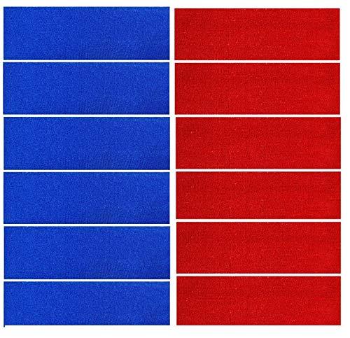 Kenz Laurenz 12 Sweatbands Cotton Sports Headbands Terry Cloth Moisture Wicking Athletic Basketball Headband (Blue 6 Red 6)