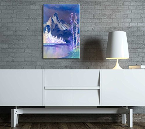 Beautiful Scenery of Mountain and Lake Nature Landscape at Night Oil Painting Reproduction