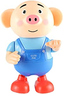 Amaping Electric Dance Musical Pig Robot Light Up Toys Educational Baby Interactive Toys Xmas Gift (Blue)