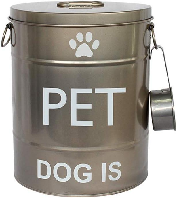 Snack-Pet Tanque de Almacenamiento Gato y Perro de Almacenamiento de Alimentos de contenedores 10kg Contenedor de Alimentos Secos IMDOU Animal dom/éstico del Metal Almacenamiento de Grano de Cubo