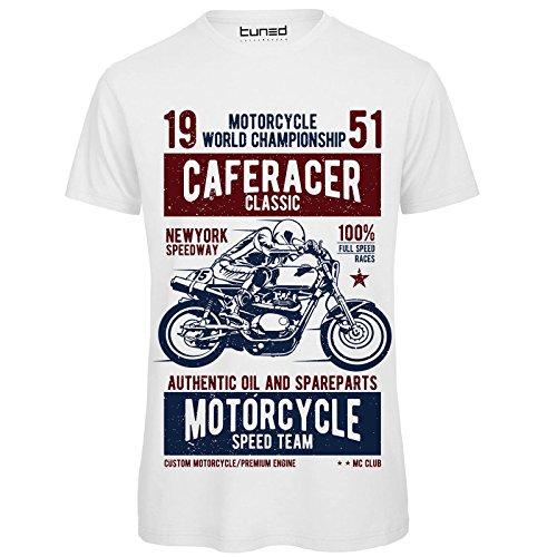 Divertente Moto T shirt Motori Uomo Tuned Chemagliette Bianco Caferacer Con Vinatge Stampa Maglietta wZfqF