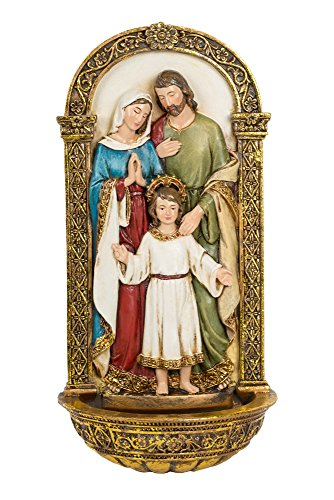 Vibrant Holy Family Gold Filigree 8 x 4 Inch Decorative Hanging Wall Figurine (Holy Family Of Jesus Mary And Joseph Images)