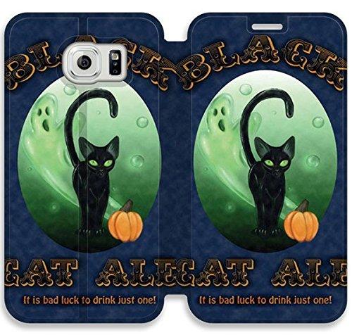 Funda Samsung Galaxy S6 Edge Funda de cuero [Buen regalo bonito regalo] [Black Cat Halloween Beer Label] [Card/Cash Slots] Protectora caja del teléfono para Samsung Galaxy S6 Edge E3V3XP