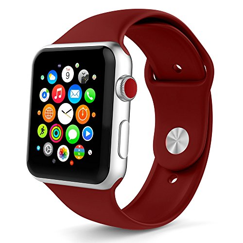 Icesnail Apple Watch Band 38mm 42mm [3 Pieces 2 Length] Soft Silicone Sport Replacement Strap for Apple Watch Series 3 Series 2 Series 1 Sport and Edition All Models (42mm Rose Red)