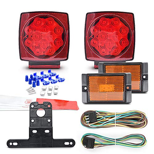MICTUNING 12V LED Trailer Light Kits Submersible Tail Lamp Universal for Boat Truck RV Van Marine Pickup Bus Towing Vehicle