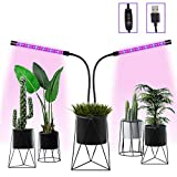 Grow Light, Grow Lights for Indoor Plants, Vpcok Adjustable Dual-head LED Plant Grow Lamp, 3/9/12 H Timing Switch, 6 Dimmable Levels, 400nm ~ 840 nm Red / Blue Spectrum, Enhance Indoor Plant Photosynthesis
