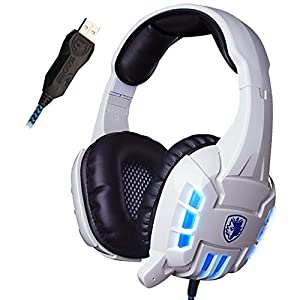 GW SADES SA718S USB Stereo Wired PC Gaming Headset Over-Ear Headband Headphones with Microphone Vibration LED lights(White)