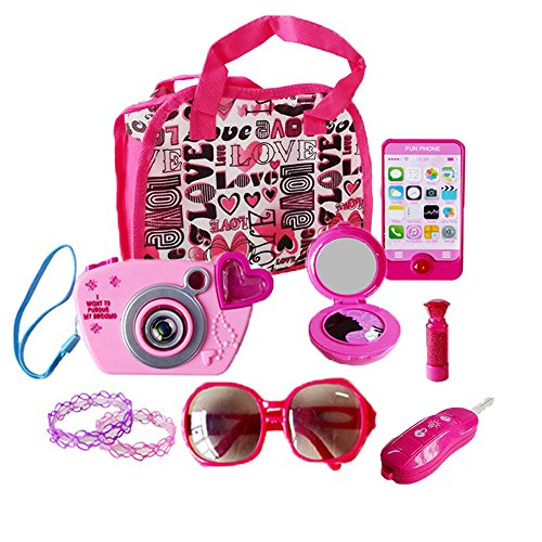 My First Purse Pretend Role Play Beauty Set for Girls, with Storage Bag, Cell Phone, Car Key, Play Lipstick, Sun Glasses, Camera, Compact & Bracelet, 9 Pcs Educational Toy for Fun Learning Purse Sunglasses