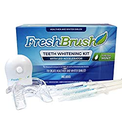FreshBrush Premium Teeth Whitening Kit, 35% Carbamide Peroxide, Comes with LED Light and Batteries, 3 Gel Syringes, 1 Tray And Case
