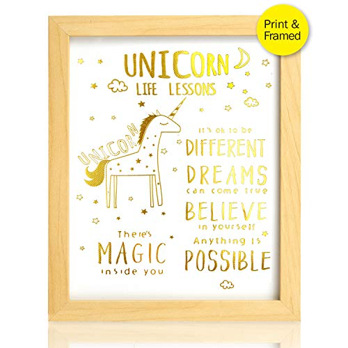 (Real Gold Foil Unicorn Inspirational Motivational Quotes Art Prints | Posters for Girls Bedroom Decor | Art Prints Teen Room Decorations | 8x10)