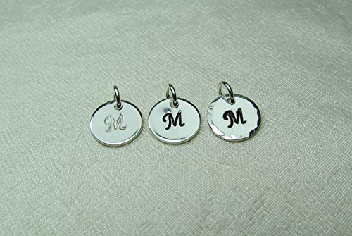 Single Small Hand Stamped Initial Charm - Sterling Silver 3/8