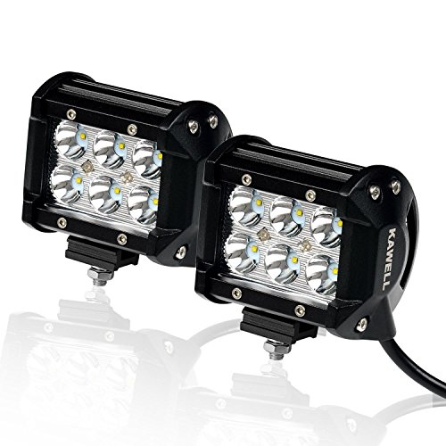 KAWELL Off Road Led Light 2-Pack 4inch 18w Cree LED Spotlight 30 Degree Waterproof for ATV SUV Jeep Mine Boat Off-road 4WD Pickup Off-road Ford Auxiliary Driving Lamp
