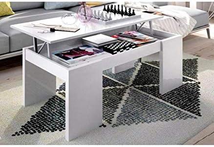 HABITMOBEL Mesa DE Centro ELEVABLE Color Blanco Brillo