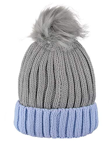 (D&Y Rib Knit Beanie with Two Tone Cuff and Faux Fur Pom, Grey)