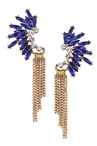 (Mina Gold Jeweled Fringe Ear Crawler Art Deco Gatsby Cascading Chain 3.8 Inch Drop Long Statement Blue)