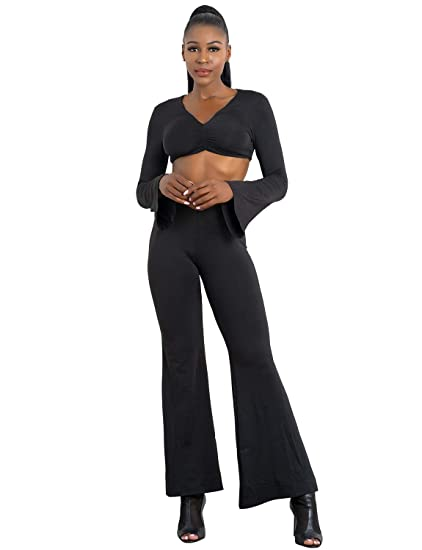 cd8ccd8054 Amazon.com: Women Sexy Long Sleeve V Neck 2 Piece Crop Top and Wide Leg  Pants Set Jumpsuit: Clothing