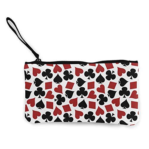 KELLYMOLL Poker Playing Card Suit Casino Pattern Fashion Cute Canvas Cash Coin Purse, Portable Zipper Bag -