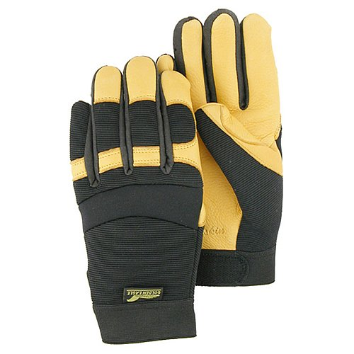 Majestic Glove 2150/10 Industrial Glove, Deer Skin Palm, Knit Back, Large, Size 10, Black/Gold (Pack of 12)