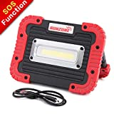 Portable LED Spotlight Work Light Camping Flood Security Lights Built-in Rechargeable 18650 Battery IP55 Waterproof Power Bank COB Light with SOS Mode for Outdoor Walking Hiking Emergency Lamp