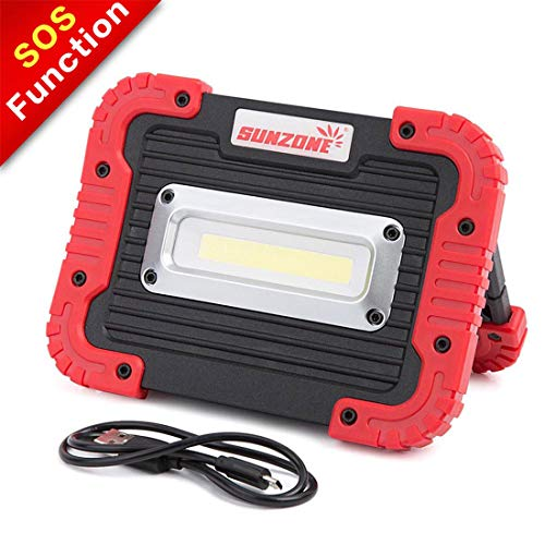(SUNZONE Portable LED COB Work Light,Outdoor Waterproof Flood Lights, for Camping,Hiking,Car Repairing,Workshop,Construction Site,Builtin Rechargeable Battery Power Bank and SOS Emergency Mode (Red))