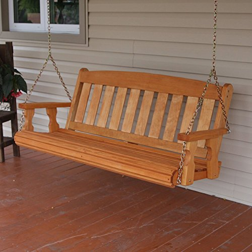 Amish Heavy Duty 800 Lb Mission Treated Porch Swing with Hanging Chains (5 Foot, Cedar Stain)